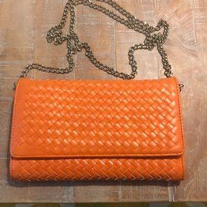 Handbags - Orange Purse/Clutch with Woven design.